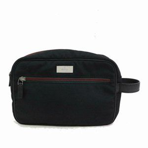 Gucci Black Sherry Web Cosmetic Pouch Make Up Bag